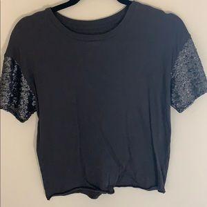 Grey sparkle sleeve top